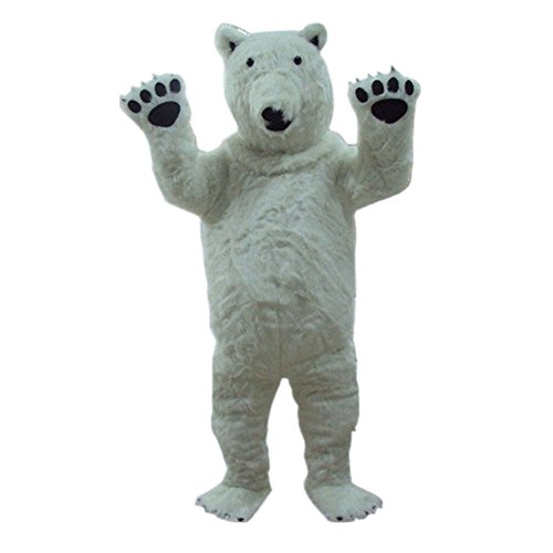 White Polar Bear Mascot Costume Cartoon Halloween Party Dress Adult Size