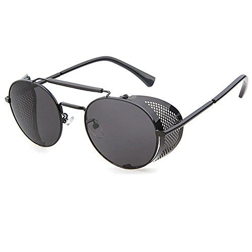 Ibeauti Polarized Retro Round Steampunk Sunglasses Side Shield Goggles Gothic Sunglasses UV400 Protection (Polarized- black ()