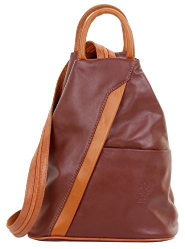 Primo Sacchi? Italian Soft Napa Leather Top Handle Shoulder Bag Rucksack Backpack. Includes Branded Protective Storage Bag Brown & Tan