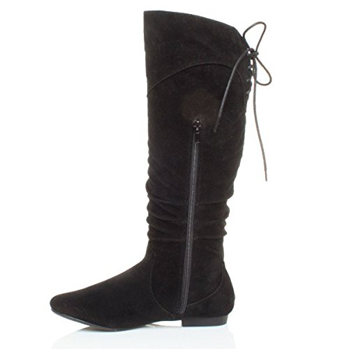 up boots lace riding Suede calf ruched slouch ladies Black Ajvani Womens winter knee size round zip toe tqwHOnI