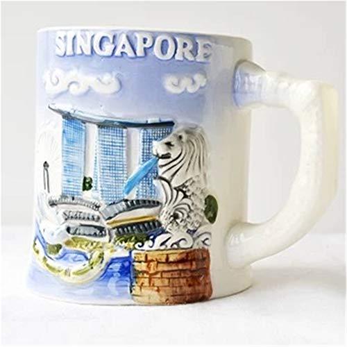 (Weekinglo Merlion Park Marina Bay Sands Singapore 3D Emboss Handpainted Ceramics Coffee Mug Cup Handmade Craft Tourist Travel Souvenir Collection Gift 12)