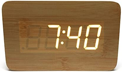 Alarm Clock Portable Speaker Digital Stereo Wooden Home Office Bedroom Travel LED Display Rechargeable Removable Backup Battery Time Date Temperature Best Gift Idea