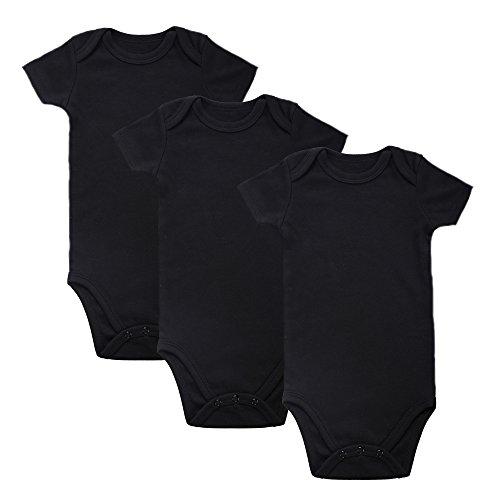 Romperinbox Place Unisex Baby Bodysuits 100% Cotton Boys Girls 0-12 Months (3-6M, Black 3 Pack)