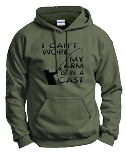 Arms Sweatshirt - Fishing Gift Can't Work My Arm is in a Cast Hoodie Sweatshirt XL MlGrn