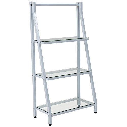 Flash Furniture Winfield Collection Glass Bookshelf with White Metal (Freestanding Clear Glass)