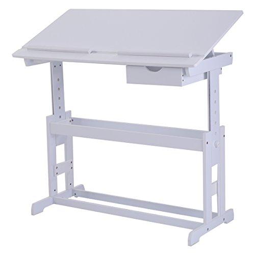 Kinderschreibtisch Kindermöbel Kinderzimmer Kindertisch Schreibtisch Schnülerschreibtisch Computertisch Bürotisch neigungsverstellbar höhenverstellbar Farbewahl (Weiss)