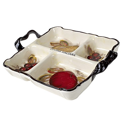 Classic Cucina Italiana Ceramic 4 Section Serving Tray with Handles Off-White Fruit (Ceramic Divided)