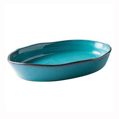 He Xiang Ya Shop Blue Large Dinner Plate Soup Plate Household Fruit Salad Dish Fish Plate Ceramic Dinnerware by He Xiang Ya Shop (Image #7)'