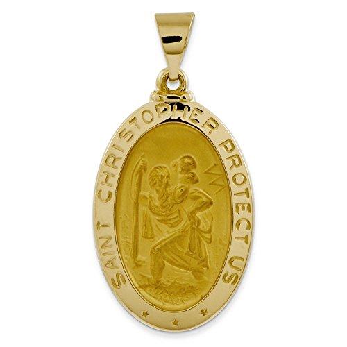 Satiné poli 14 carats et St. Christopher médaille collier pendentif-JewelryWeb