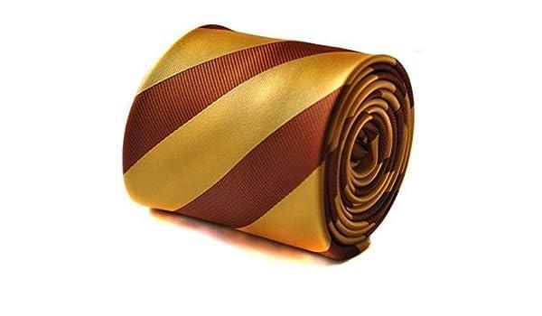 Frederick Thomas Amarillo Dorado y marrón chocolate Barber Rayas ...