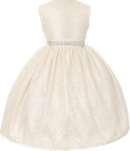 Bt Kids Dress (Flower Girl Dress Overlay Lace with Rhinestone Belt for Little Girl Ivory 4 11.32BT)