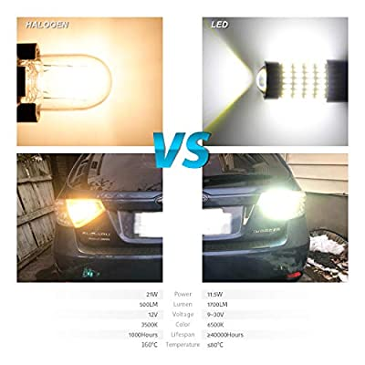 LUYED 2 X 1700 Lumens Extremely Bright 7443 4014 102-EX Chipsets 7440 7441 7443 7444 992 LED Bulbs with Projector for Backup Reverse Lights,Xenon White(Brightest LED in market): Automotive