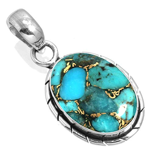 925 Sterling Silver Women Jewelry Copper Blue Turquoise Pendant