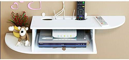 クリエイティブテレビ棚の背景ウォールセットトップボックスルータのWifiのDVDプレーヤー小型製品多彩なパンチ収納棚ストレージボックス装飾的なフレームを壁掛け (Color : White, Size : Semicircle)