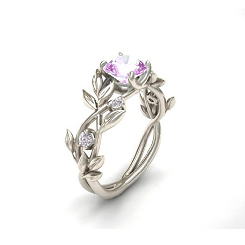 Rings,ZYooh Women Floral Transparent Diamond Flower Vine Leaf Rings Engagement Wedding Rings Jewelry Gift (Pink, 9)