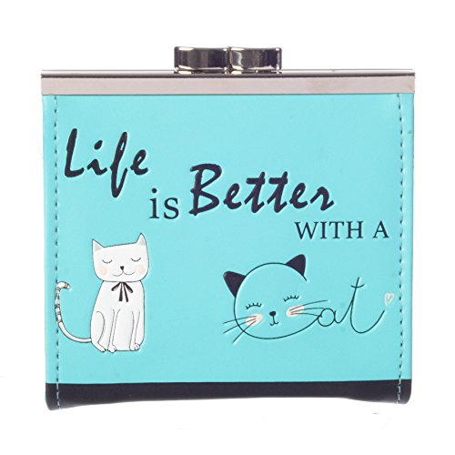 Tickets Cats (Shag Wear Women's Coin Purse TURQUOISE LIFE IS BETTER WITH A CAT)