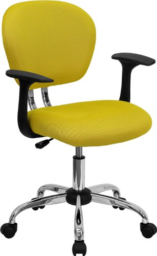 Flash Furniture Mid-Back Yellow Mesh Swivel Task Chair with Chrome Base and Arms (Yellow Chairs Desk)