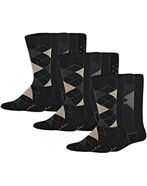 Men's Classics Dress Argyle Crew Socks, 15 Pair