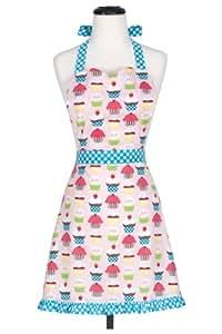KAF Home Adult's Hostess Apron, Cupcake, Adjustable Ties for Versatile Fit, Machine Washable, 100% Cotton