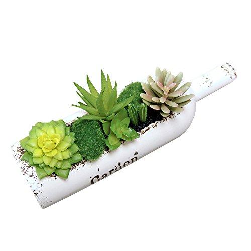 Conjugal Bliss Succulent Plant Green Bonsai Creative Plastic Flowerpot Artificial Plants Wine Bottle Cans Home Party Wedding Shooting Props Decoration Art (Autumn)
