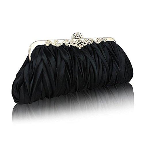 Tinksky Raso sera frizione matrimonio partito borsa Cocktail borse, regalo per le mamme o regalo per donne ragazze (nero)