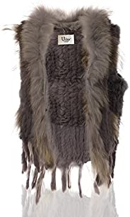 Uilor Women's 100% Natural Knit Rabbit Fur Vest with Raccoon Fur Co