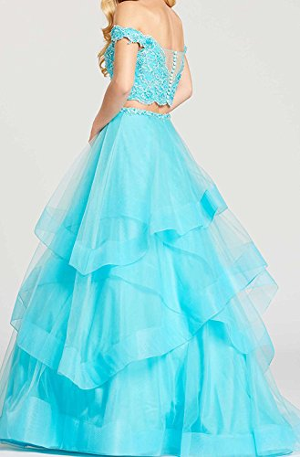 Off Evening Party Dresses Gown Shoulder Piece BD438 Two Lace The BessDress Ball Lilac Prom 2018 zwUBEx