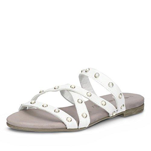 Tamaris 27136-38 100 Damen Pantolette Aus Glattleder Nieten-Besatz Gummizüge Weiß