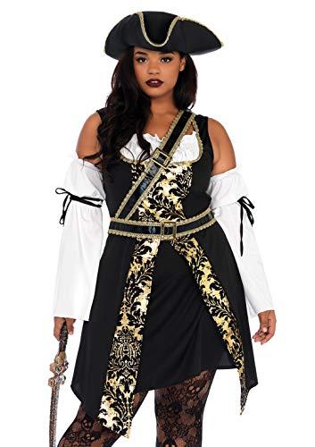 Women's Plus Size Pirate Costume (Leg Avenue Women's Costume, Black/Gold,)