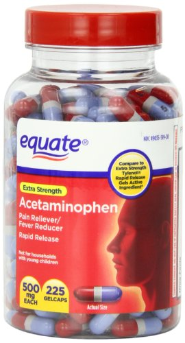 Equate - Pain Reliever, Rapid Release Gels Acetaminophen 500 mg, 225 Gelcaps (Comprate to Tylenol) by Equate