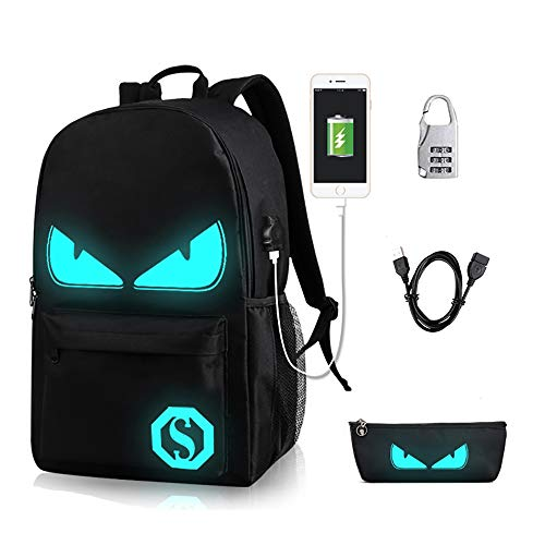 Lmeison Anime Luminous Backpack Daypack Shoulder Bag Laptop Bag with USB Charger Port and Lock & Pencil Case, Unisex Fashion Rucksack Laptop Travel Bag College Bookbag, Black ()