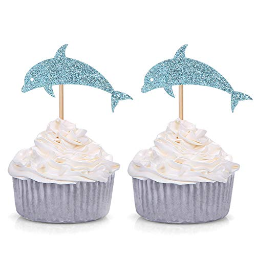 24 Blue Glitter Dolphin Cupcake Toppers Baby Shower Birthday Under the Sea Theme Party Decorations]()