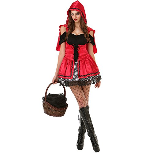 Little Red Riding Hood Costumes Halloween (Sizzling Lil' Red Riding Hood Women's Halloween Costume Sexy Fairytale Dress)