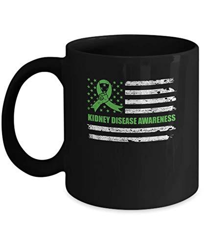 Green Ribbon Kidney Disease Awareness US Flag Coffee Mug 11OZ Coffee Mug (Best Restaurants For Kidney Disease)