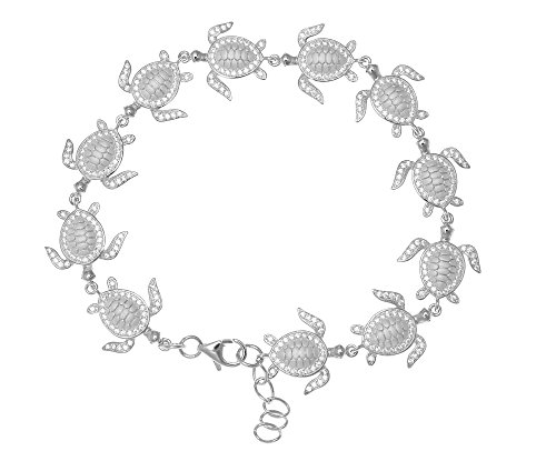 925 sterling silver rhodium plated solid Hawaiian sea turtle link bracelet cz 7.5'' by Arthur's Jewelry