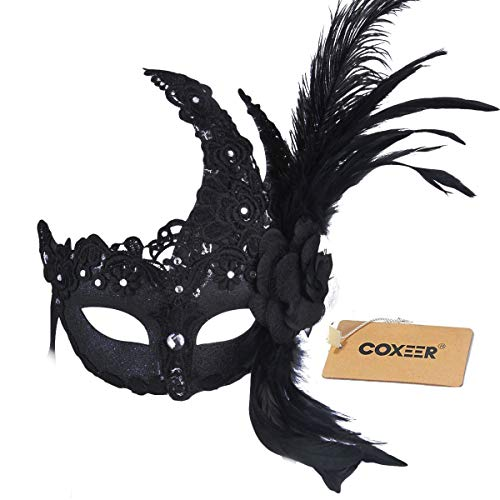 Coxeer Black Feather Masquerade Mask Party Mask with Flower Lace Decor ()