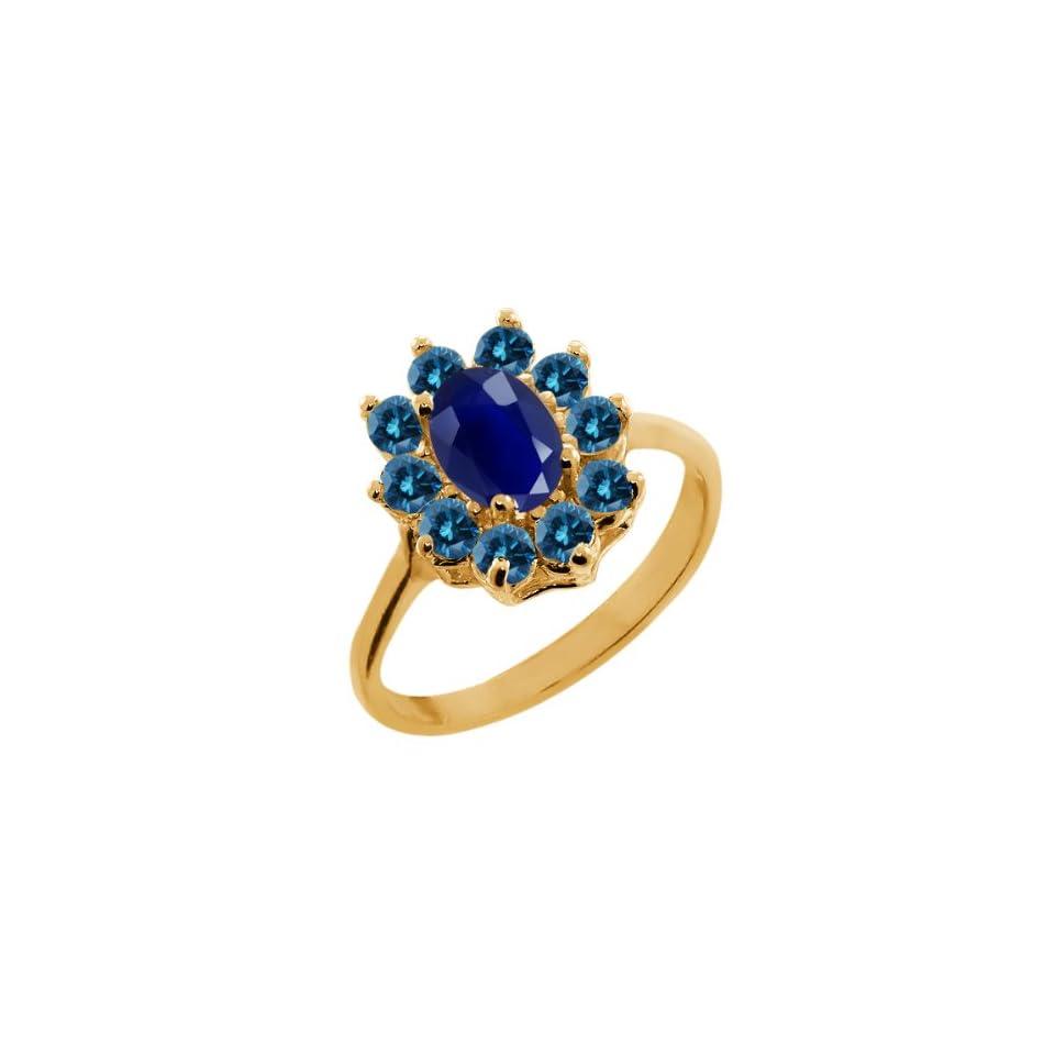 1.33 Ct Oval Blue Sapphire Blue Diamond 14K Yellow Gold Ring Jewelry