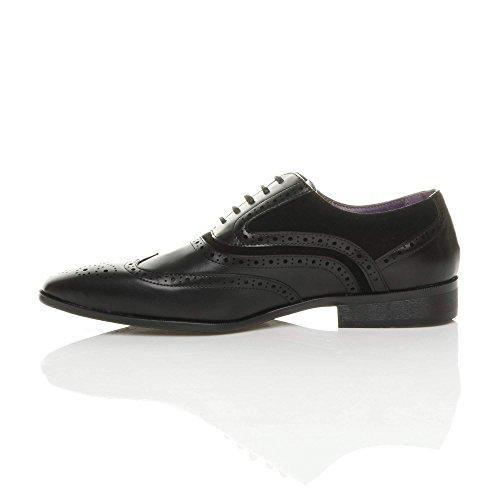 Ajvani Herren Schnüren Kontrast Freizeit Formal Budapester Brogue Spitze Schuhe Größe Schwarz