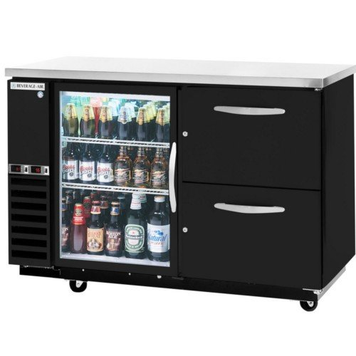 Pull Out Cooler Drawer (Beverage-Air DZ58G-1-B-PWD-1 Dual-Zone Glass Door Back Bar in Black with Pull Out Wine Drawers on Right Solid Pull Out Keg Drawer and Tap Tower on)