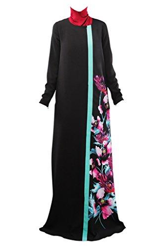 Black Dress Long Muslim Abaya Pattern Robes Patchwork Ake Floral Islamic Femme Kaftan 4xqpX7UP