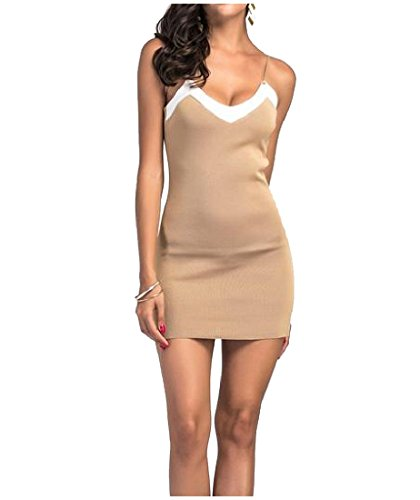 Women's Bodycon Fit Sling Khaki Waist Slim Low out Dress Accept Mini Coolred XAqdRX