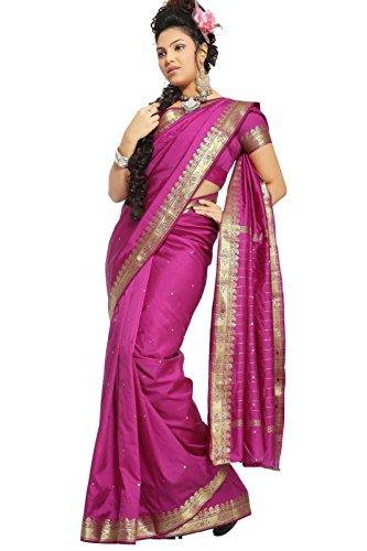 (Indian Selections - Violet Red Art Silk Saree Sari fabric India Golden Border)