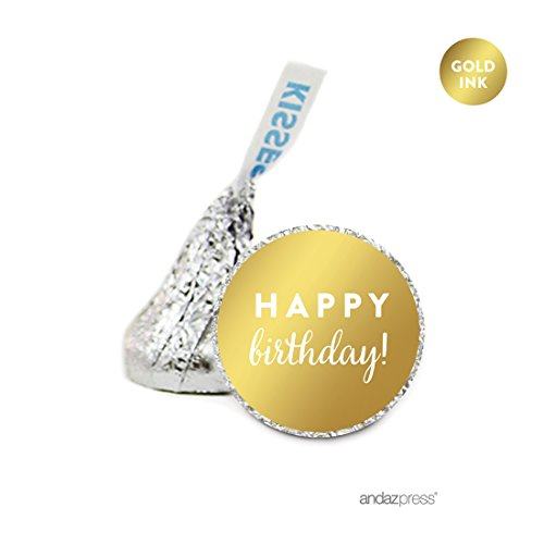 - Andaz Press Chocolate Drop Labels, Metallic Gold Ink, Happy Birthday!, 216-Pack, Fits Hershey's Kisses, Not Gold Foil, Gold Stationery, Invitations, Decorations