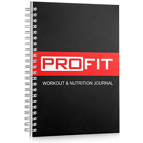 Fitness and Food Journal by ProFit - Weight Loss Planner | Workout Log | Diet Notebook | Gym Exercise Diary - Easy-To-Use A5 Fit Book / 6x8 Inches / Pen Included / 140 Pages / Undated (Soft Cover)