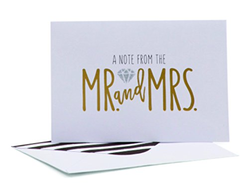 Price comparison product image Roobee Set of 50 Wedding Note Cards (A Note From The Mr. and Mrs.) Gold and Silver (Mr. & Mrs.)