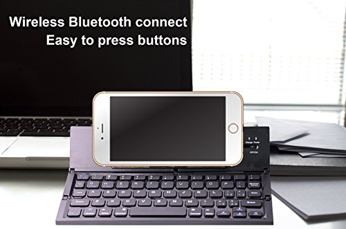 Foldable Bluetooth Smart Phone keyboard – Portable Durable and – easy to carry– easy on/off button –simple to connect – compatible with android and ios