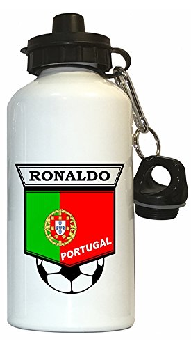 Cristiano Ronaldo (Portugal) Soccer Water Bottle White by Custom Image Factory