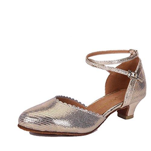 (WXMDDN Latin Dance Shoe Light Blond Dance Shoe 3.5cm Outdoor Dance Shoe Leather Dance Shoe Soft Floor Jazz Dance Dance Shoe,E36)