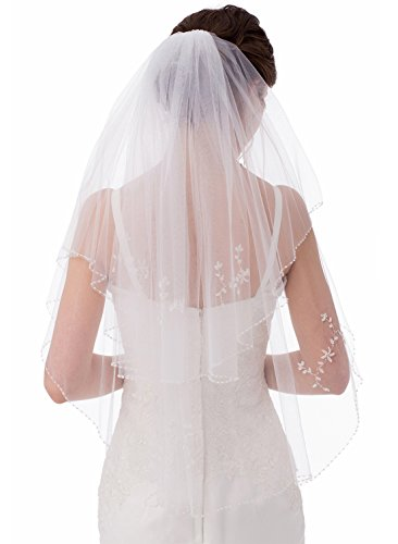 Emondora 2T Short Sequin Pearl Edge Crystals Beaded Bling Wedding Bridal Veil Ivory