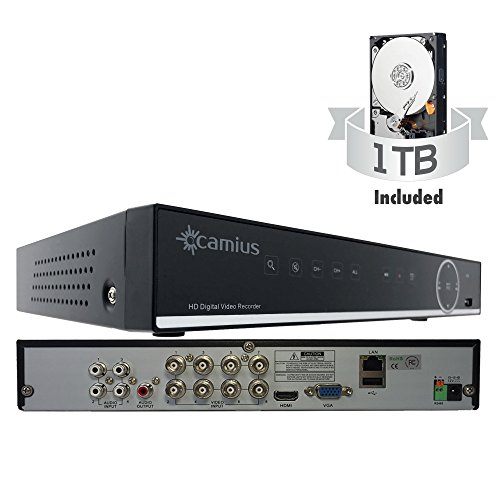 1 Combo Tb Usb (Camius Full HD True 1080P 8 Channel DVR (+4 CH IP) with Hard Drive 1TB - 5-in-1 DVR Supports Analog TVL, AHD, CVI, TVI Cameras and 5MP IP cameras, 1080p HDMI output, Mobile phone, PC, Mac compatible)